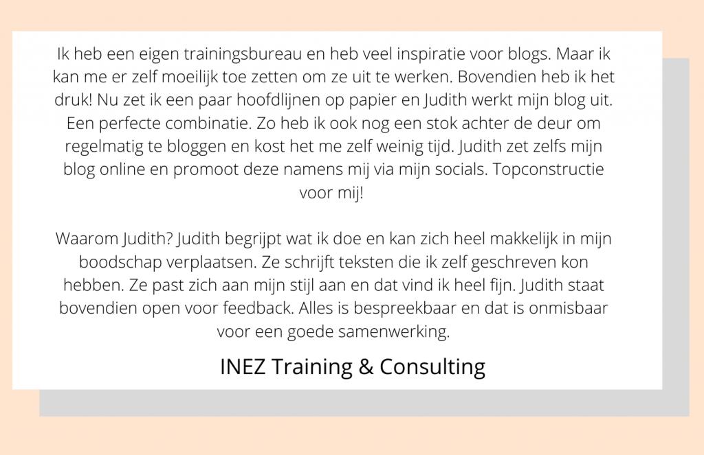 review Inez blog laten schrijven
